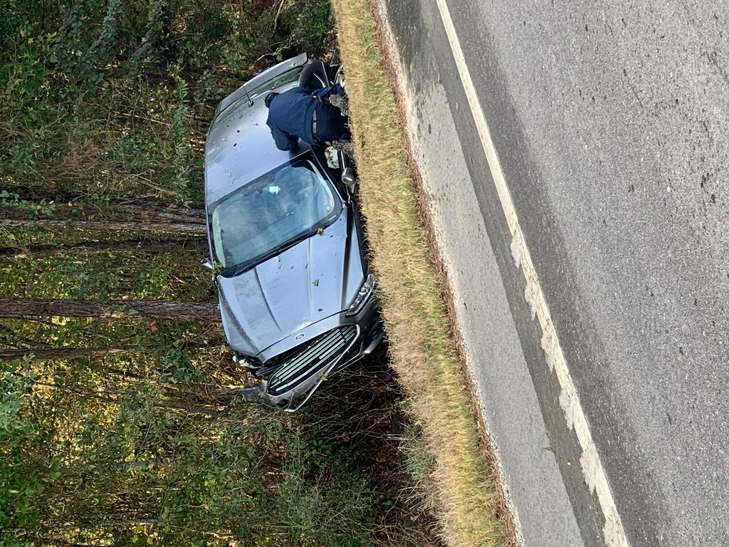 Single-vehicle accident on Highway 22 at CC Road at 7:42 am on November 5th.