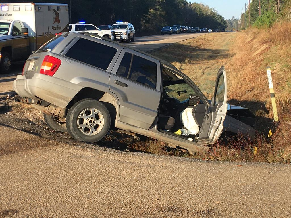 Accident on Highway 22 at Firetower Road. 7:28 am on November 145th. The driver of the grey SUV rear-ended the sedan. The SUV driver fled an earlier hit-and-run.