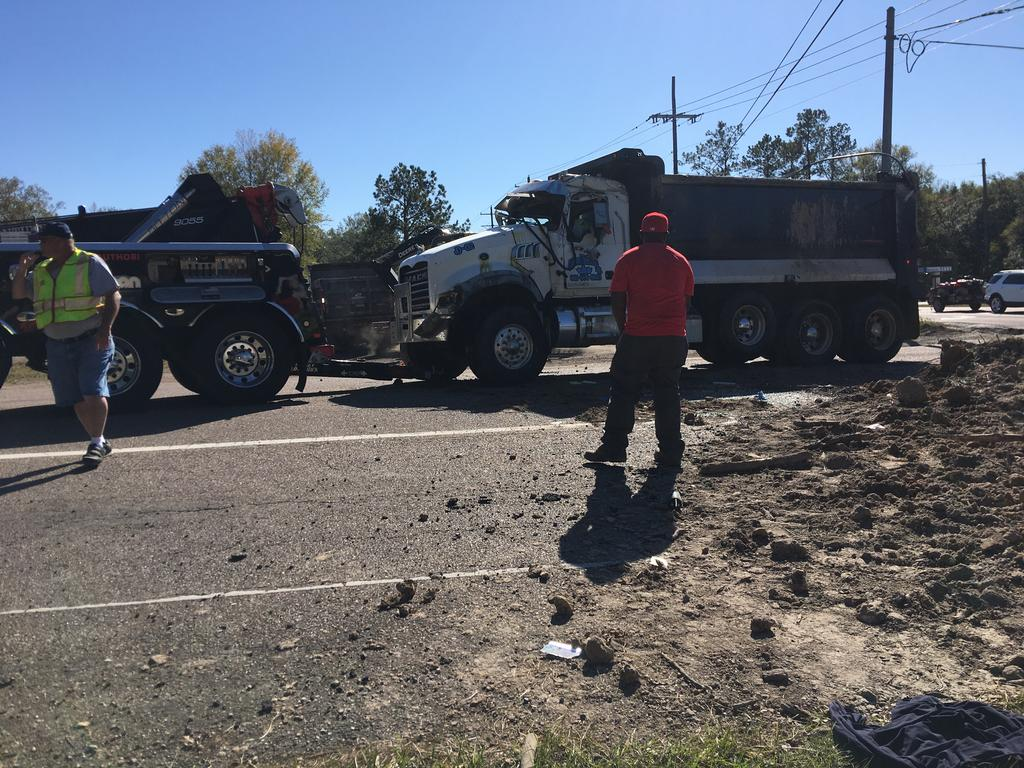 Dump truck once righted.