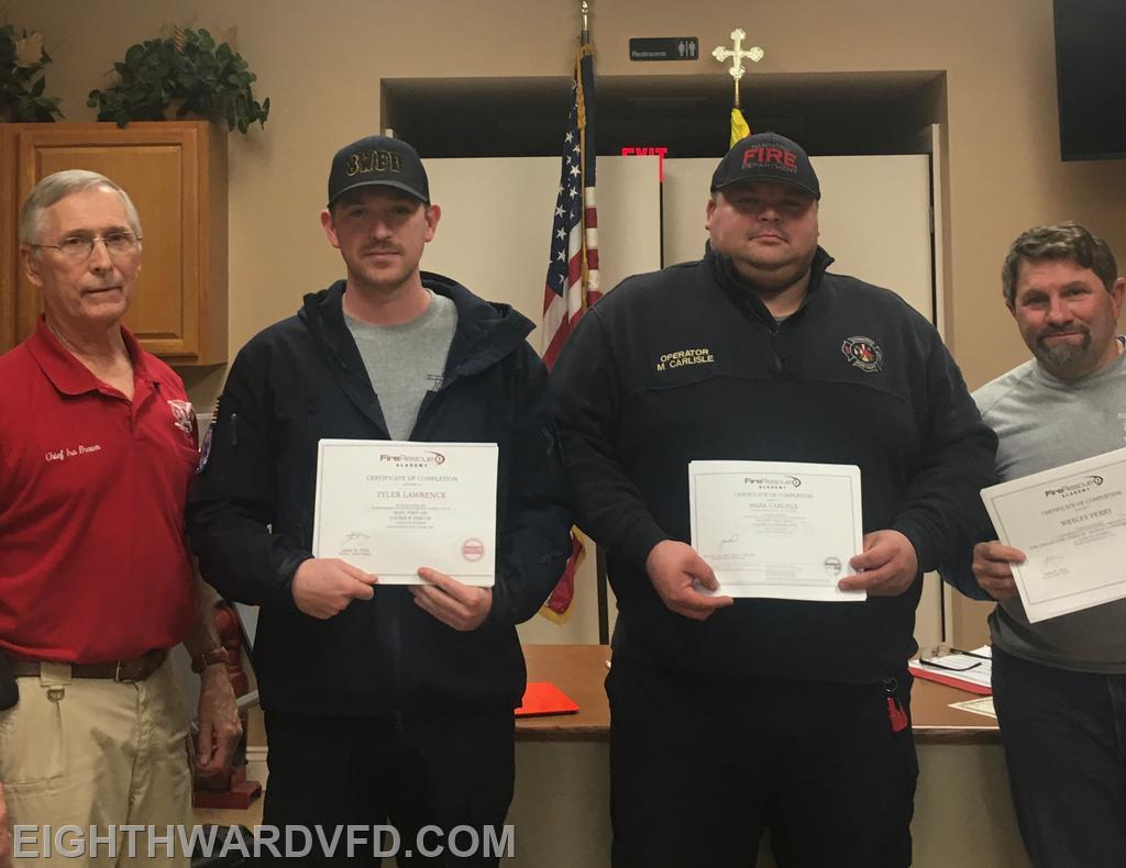 L-R Chief Ira Brown presented certificates to Firefighters Tyler Lawrence and Mark Carlisle, and Assistant Chief Wesley Perry for completing courses in our online training program Fire Rescue 1 Academy.