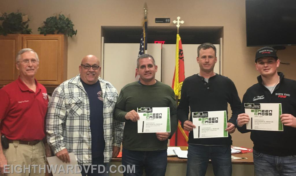 Captain David Byers, Chaplain Wayne Ratliff, and Firefighters Lawrence Jenkins and Laine Taylor received recognition from the Hurst Tools Jaws of Life Green Cross program for successfully extricating two individuals in a violent motor vehicle accident on Doc Hyde Road.