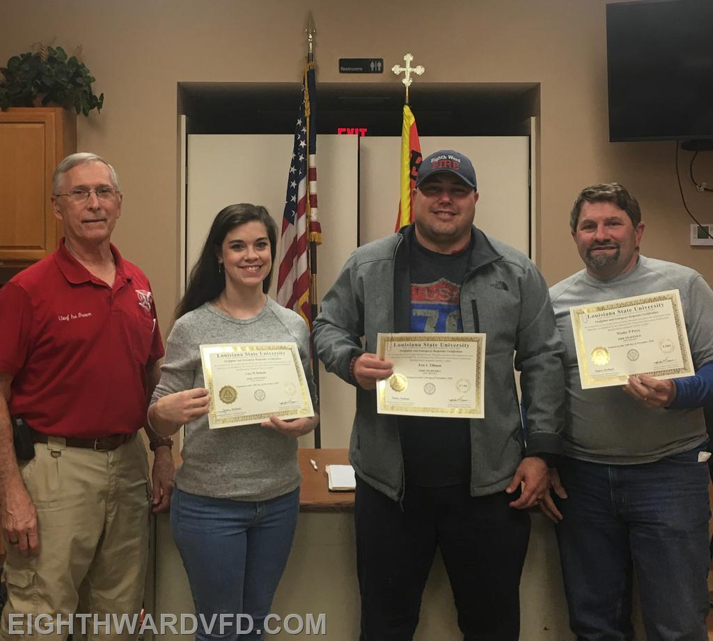 Several firefighters received their National Firefighter Certification. Lisa Baham and Eric Tillman received their Firefighter I certification while Assistant Chief Wesley Perry received his Firefighter II certification.