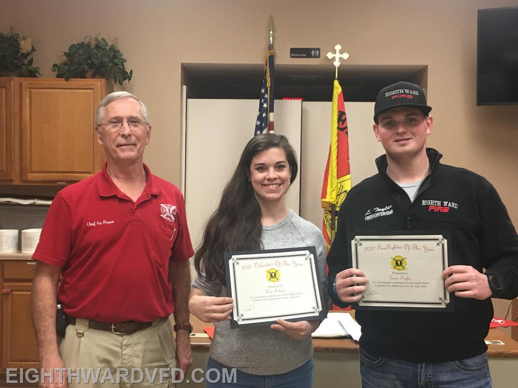Lisa Baham was recognized as our 2020 Volunteer of the Year. Laine Taylor was recognized as the Firefighter of the Year.