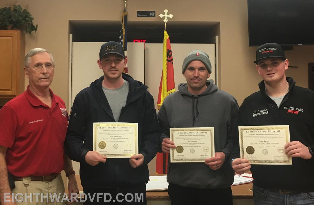 Hazardous Materials certifications were presented to Tyler Lawrence (Awareness); Corey Migliore (Awareness), and Laine Taylor (Awareness and Operations).