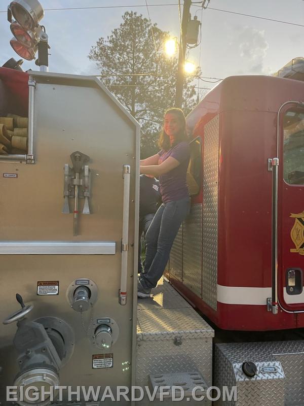 Lisa Baham, FF-1/EMR/RN, pumping the engine.